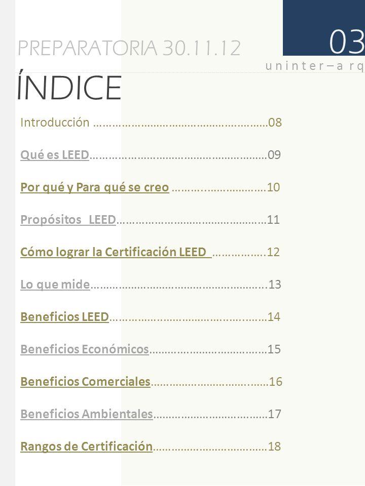 ÍNDICE PREPARATORIA 30.11.12 03 Categorías ………………………………………..………….19 Proceso de Certificación………………………..……..20 Costos de Certificación LEED………..……………….21 u n i n t e r – a r q