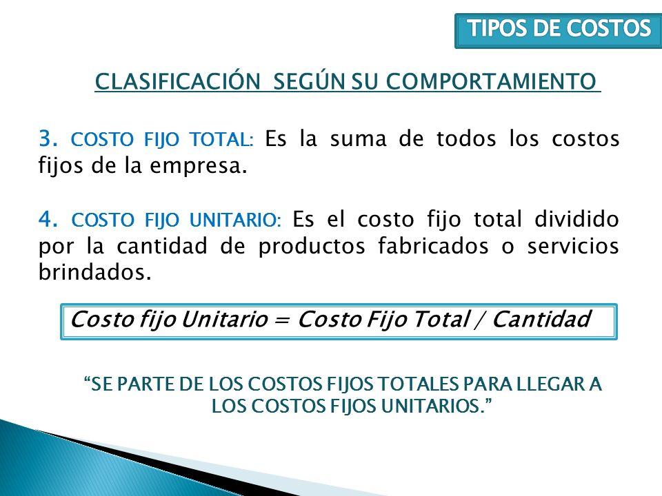 3. COSTO FIJO TOTAL: Es la suma de todos los costos fijos de la empresa. 4. COSTO FIJO UNITARIO: Es el costo fijo total dividido por la cantidad de pr