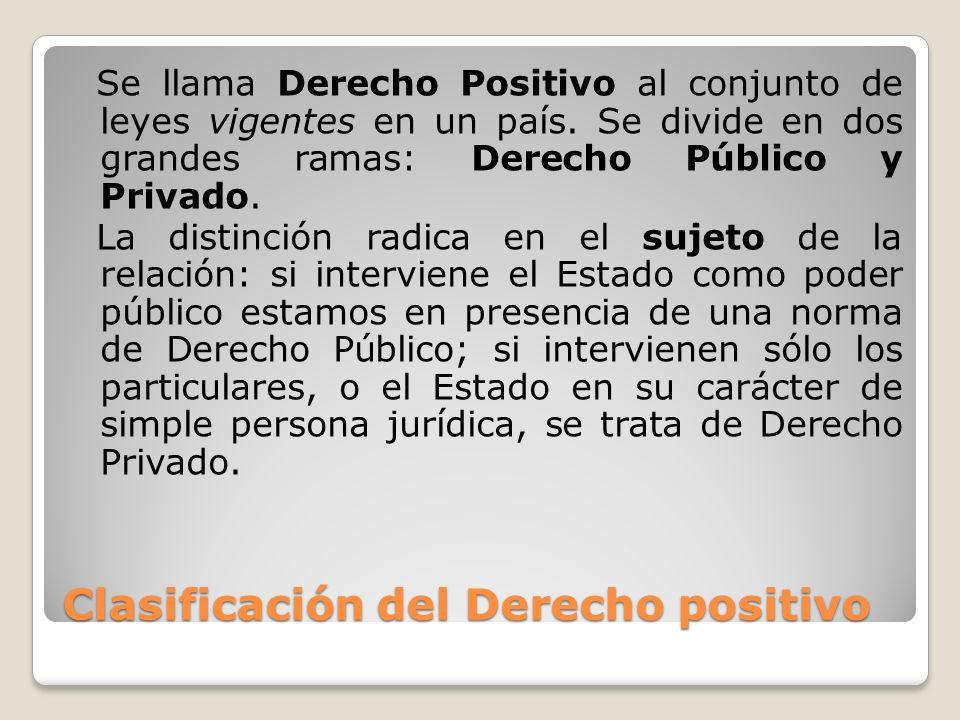 Clasificación del Derecho positivo Se llama Derecho Positivo al conjunto de leyes vigentes en un país. Se divide en dos grandes ramas: Derecho Público
