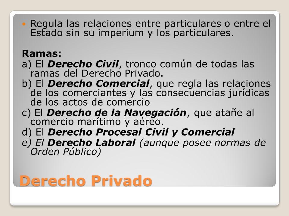 Derecho Privado Regula las relaciones entre particulares o entre el Estado sin su imperium y los particulares. Ramas: a) El Derecho Civil, tronco comú