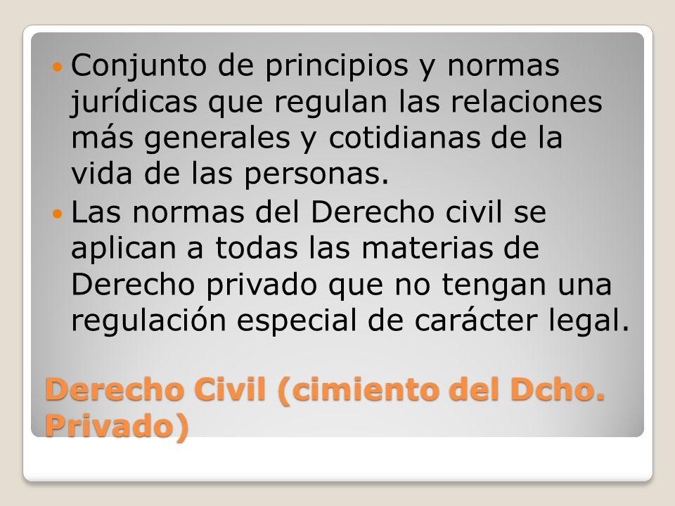 Derecho Civil (cimiento del Dcho. Privado) Conjunto de principios y normas jurídicas que regulan las relaciones más generales y cotidianas de la vida