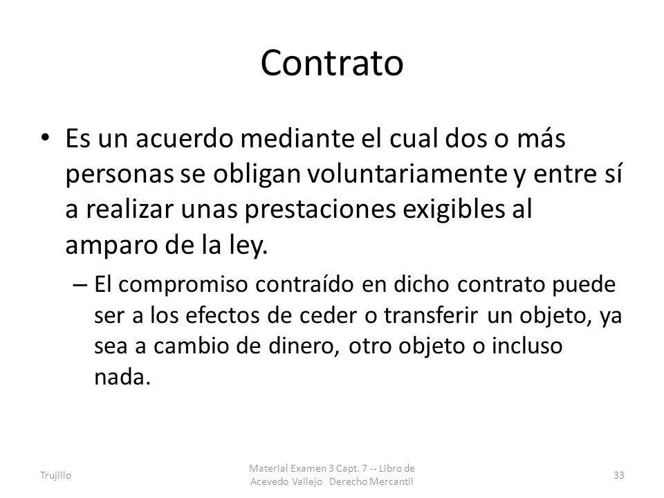 Contrato Es un acuerdo mediante el cual dos o más personas se obligan voluntariamente y entre sí a realizar unas prestaciones exigibles al amparo de l