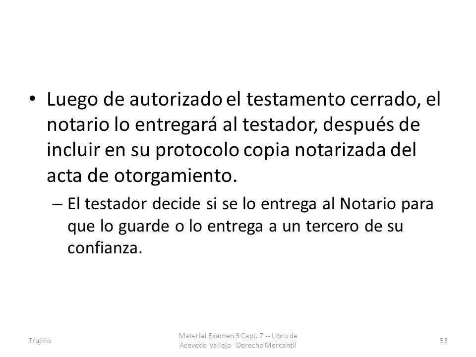 Luego de autorizado el testamento cerrado, el notario lo entregará al testador, después de incluir en su protocolo copia notarizada del acta de otorga