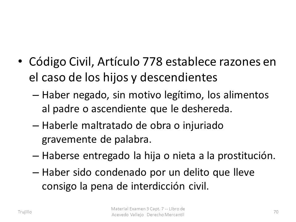 Código Civil, Artículo 778 establece razones en el caso de los hijos y descendientes – Haber negado, sin motivo legítimo, los alimentos al padre o asc
