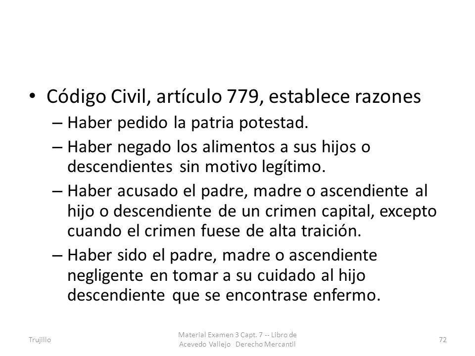 Código Civil, artículo 779, establece razones – Haber pedido la patria potestad. – Haber negado los alimentos a sus hijos o descendientes sin motivo l