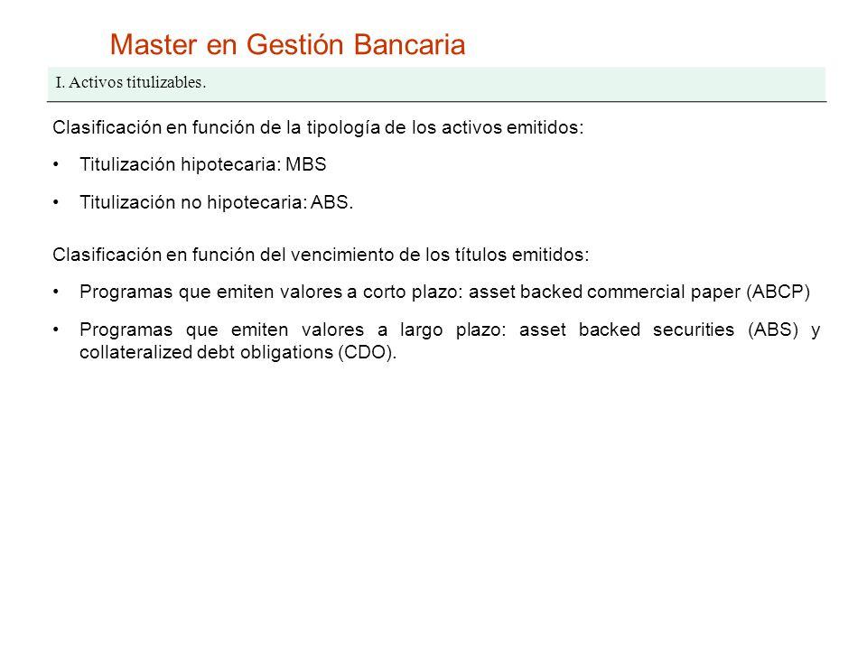 Master en Gestión Bancaria I. Activos titulizables. Clasificación en función de la tipología de los activos emitidos: Titulización hipotecaria: MBS Ti