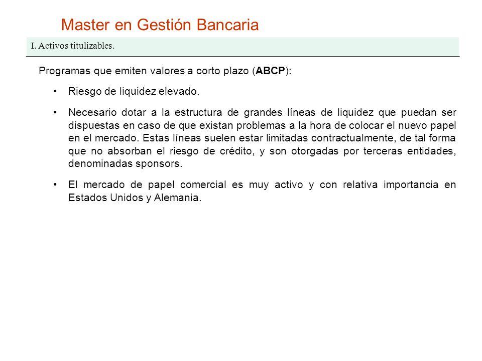 Master en Gestión Bancaria I. Activos titulizables. Programas que emiten valores a corto plazo (ABCP): Riesgo de liquidez elevado. Necesario dotar a l