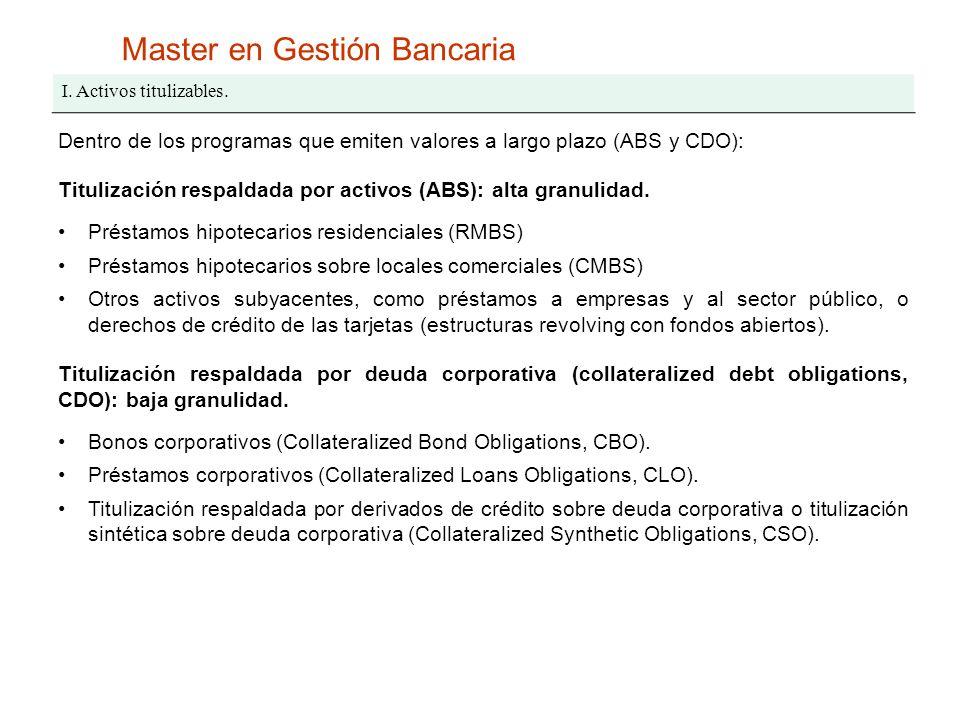 Master en Gestión Bancaria I. Activos titulizables. Dentro de los programas que emiten valores a largo plazo (ABS y CDO): Titulización respaldada por
