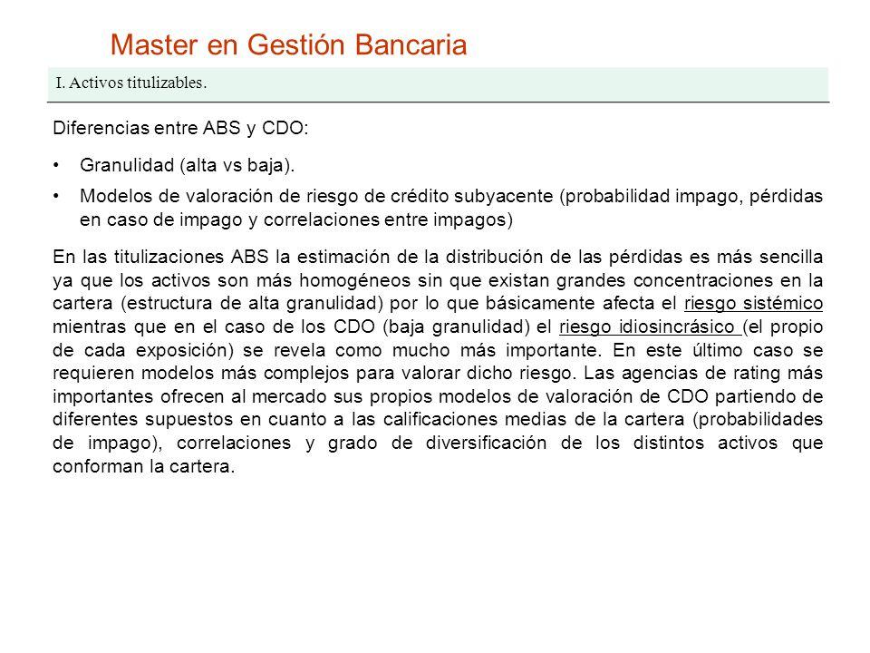 Master en Gestión Bancaria I. Activos titulizables. Diferencias entre ABS y CDO: Granulidad (alta vs baja). Modelos de valoración de riesgo de crédito