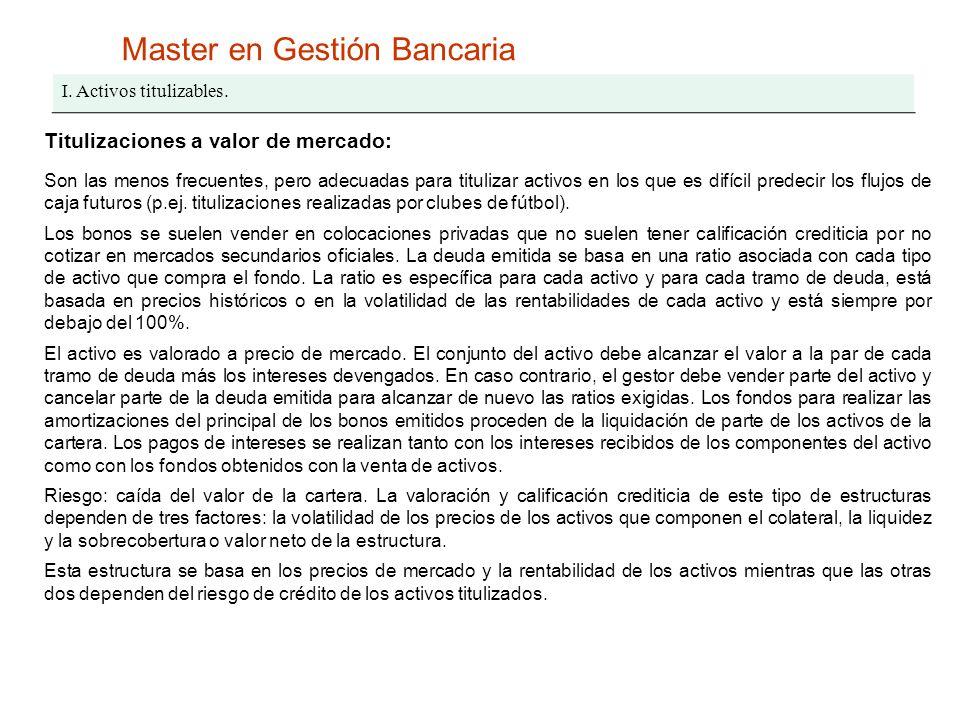 Master en Gestión Bancaria I. Activos titulizables. Titulizaciones a valor de mercado: Son las menos frecuentes, pero adecuadas para titulizar activos