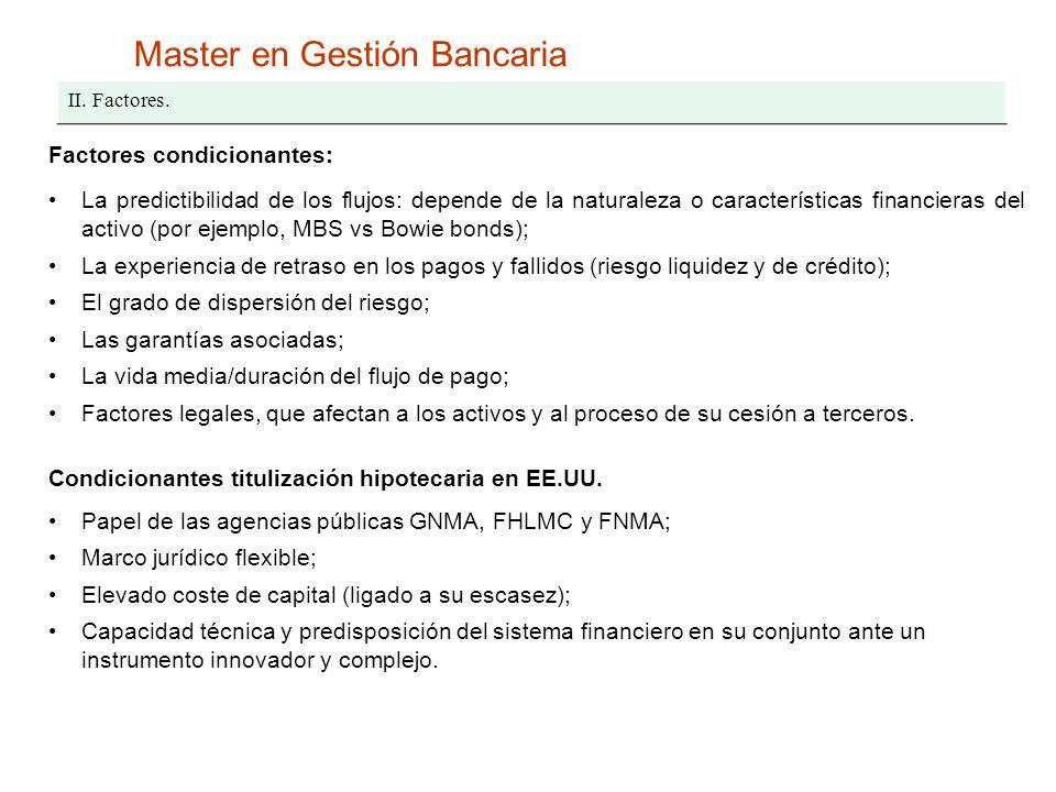 Master en Gestión Bancaria II. Factores. Factores condicionantes: La predictibilidad de los flujos: depende de la naturaleza o características financi