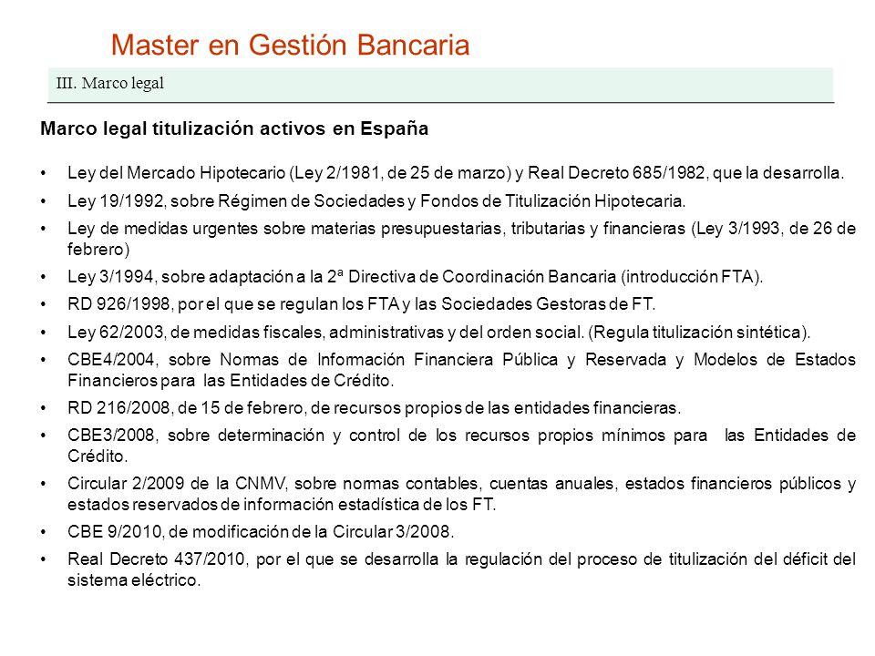 Master en Gestión Bancaria III. Marco legal Marco legal titulización activos en España Ley del Mercado Hipotecario (Ley 2/1981, de 25 de marzo) y Real