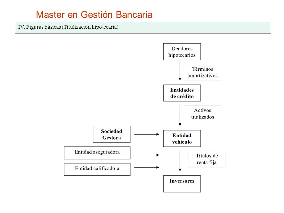 Master en Gestión Bancaria IV. Figuras básicas (Titulización hipotecaria)
