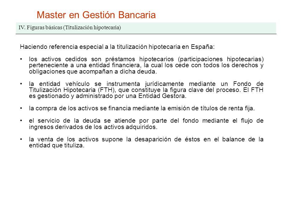Master en Gestión Bancaria IV. Figuras básicas (Titulización hipotecaria) Haciendo referencia especial a la titulización hipotecaria en España: los ac