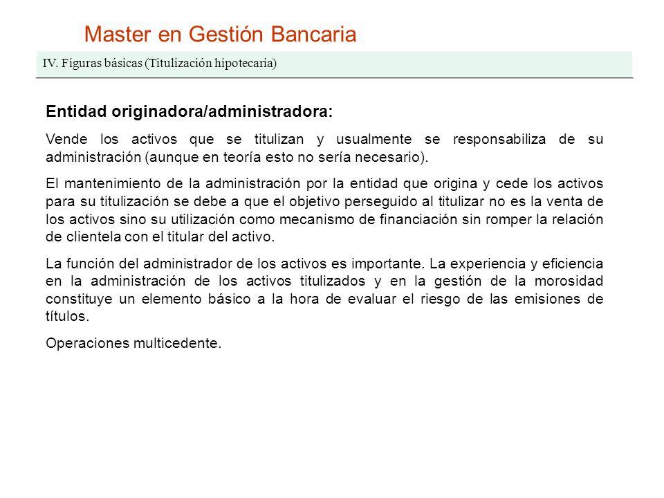 IV. Figuras básicas (Titulización hipotecaria) Entidad originadora/administradora: Vende los activos que se titulizan y usualmente se responsabiliza d
