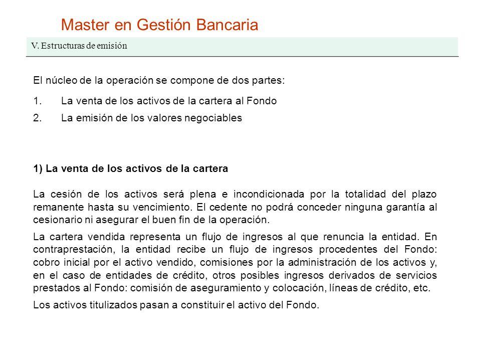 Master en Gestión Bancaria V. Estructuras de emisión El núcleo de la operación se compone de dos partes: 1.La venta de los activos de la cartera al Fo