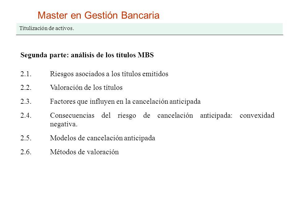 Master en Gestión Bancaria Titulización de activos. Segunda parte: análisis de los títulos MBS 2.1.Riesgos asociados a los títulos emitidos 2.2.Valora