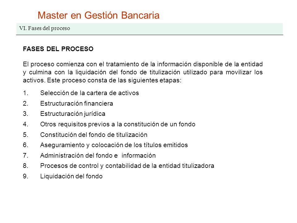 Master en Gestión Bancaria VI. Fases del proceso FASES DEL PROCESO El proceso comienza con el tratamiento de la información disponible de la entidad y