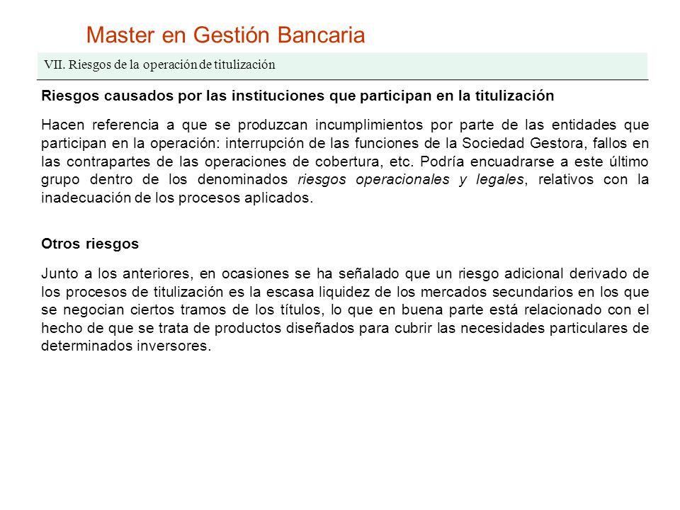 Master en Gestión Bancaria VII. Riesgos de la operación de titulización Riesgos causados por las instituciones que participan en la titulización Hacen