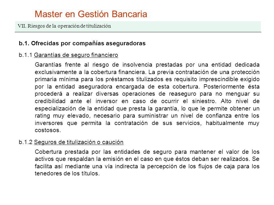 Master en Gestión Bancaria VII. Riesgos de la operación de titulización b.1. Ofrecidas por compañías aseguradoras b.1.1 Garantías de seguro financiero