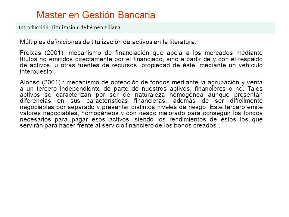 Master en Gestión Bancaria I.Activos titulizables.