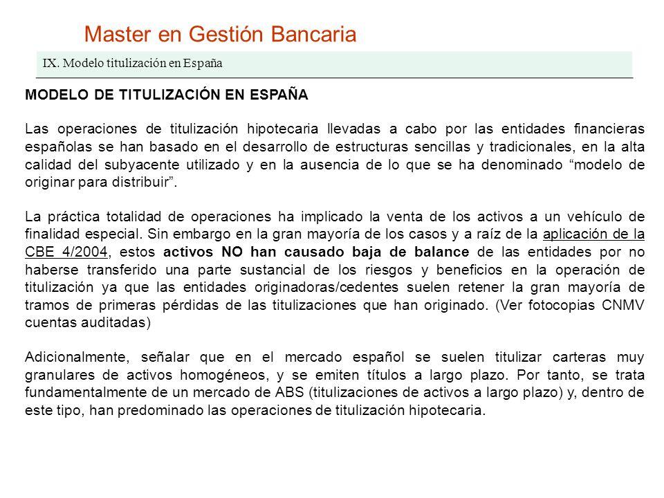 Master en Gestión Bancaria IX. Modelo titulización en España MODELO DE TITULIZACIÓN EN ESPAÑA Las operaciones de titulización hipotecaria llevadas a c