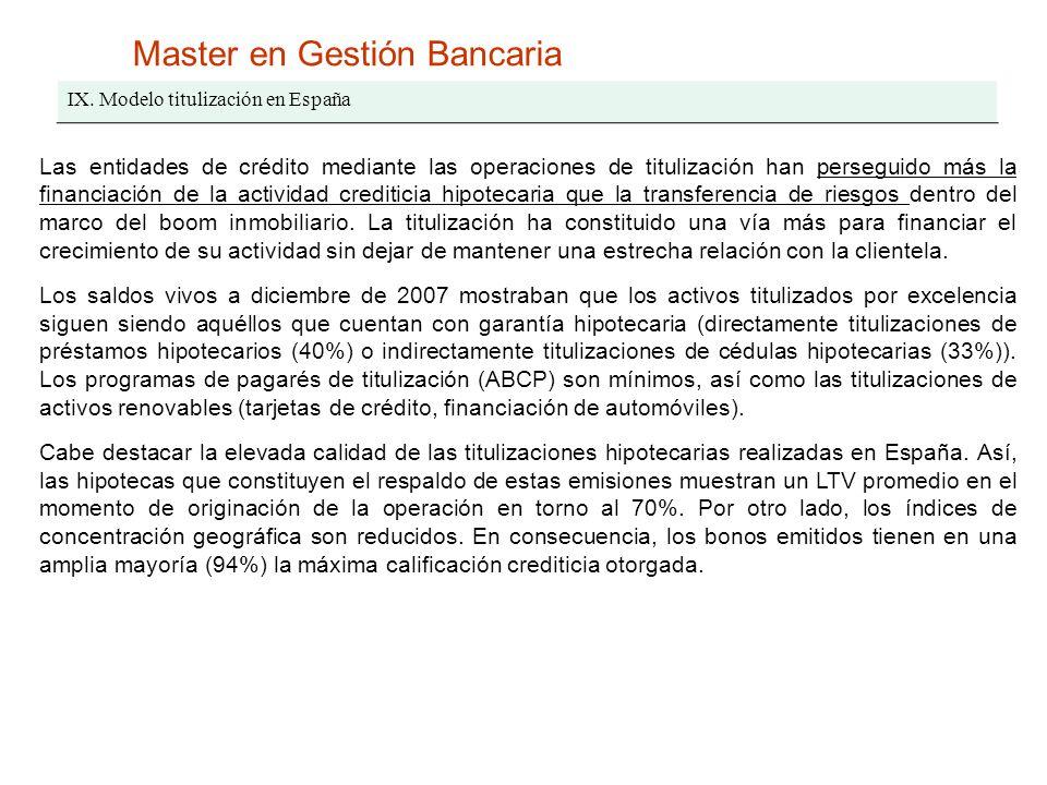 Master en Gestión Bancaria IX. Modelo titulización en España Las entidades de crédito mediante las operaciones de titulización han perseguido más la f