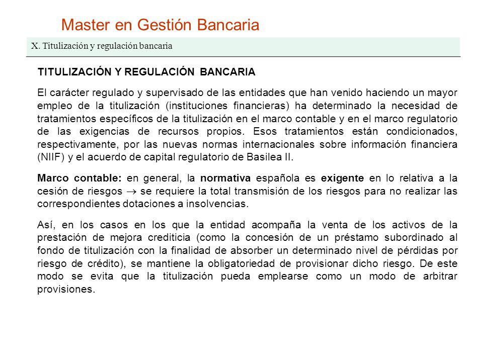 Master en Gestión Bancaria X. Titulización y regulación bancaria TITULIZACIÓN Y REGULACIÓN BANCARIA El carácter regulado y supervisado de las entidade