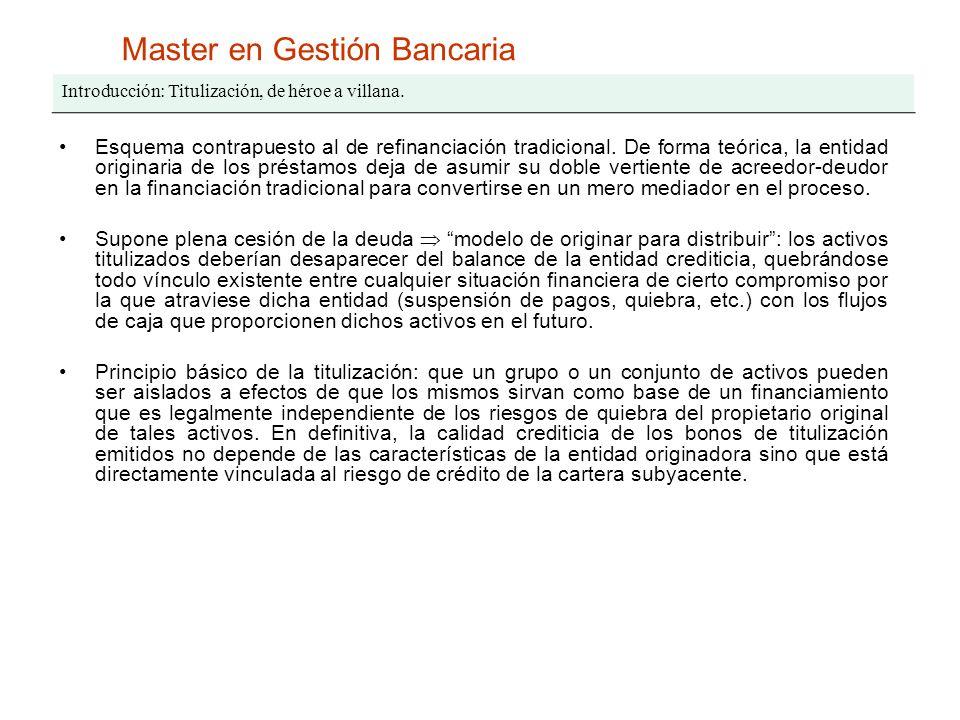 Master en Gestión Bancaria Introducción: Titulización, de héroe a villana. Esquema contrapuesto al de refinanciación tradicional. De forma teórica, la
