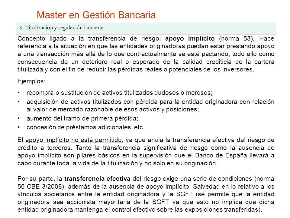Master en Gestión Bancaria X. Titulización y regulación bancaria Concepto ligado a la transferencia de riesgo: apoyo implícito (norma 53). Hace refere