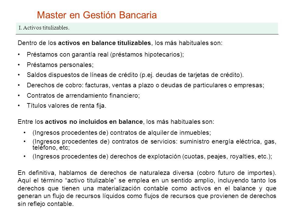 Master en Gestión Bancaria I. Activos titulizables. Dentro de los activos en balance titulizables, los más habituales son: Préstamos con garantía real