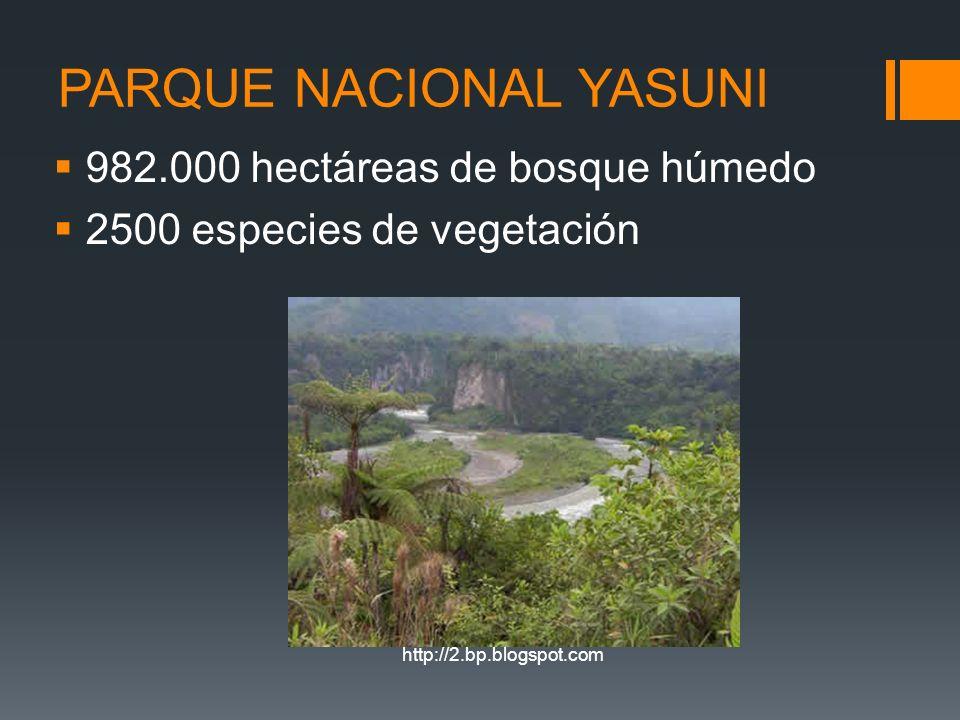 PARQUE NACIONAL YASUNI 982.000 hectáreas de bosque húmedo 2500 especies de vegetación http://2.bp.blogspot.com