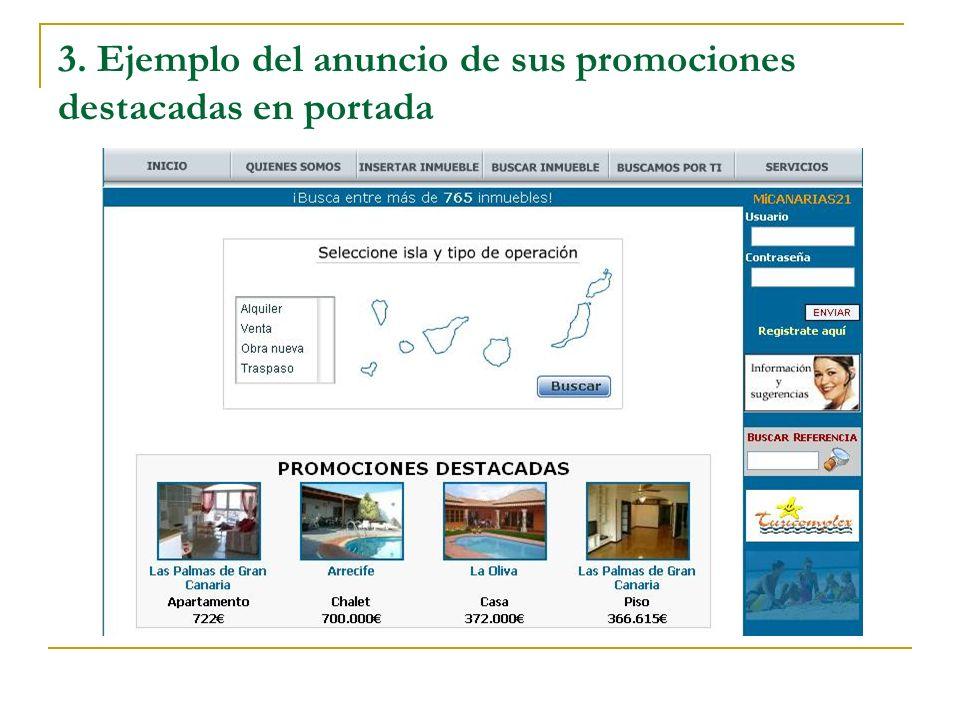 3. Ejemplo del anuncio de sus promociones destacadas en portada