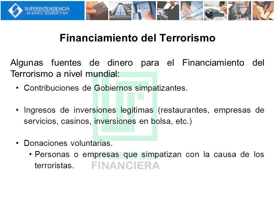 Financiamiento del Terrorismo Algunas fuentes de dinero para el Financiamiento del Terrorismo a nivel mundial: Contribuciones de Gobiernos simpatizant