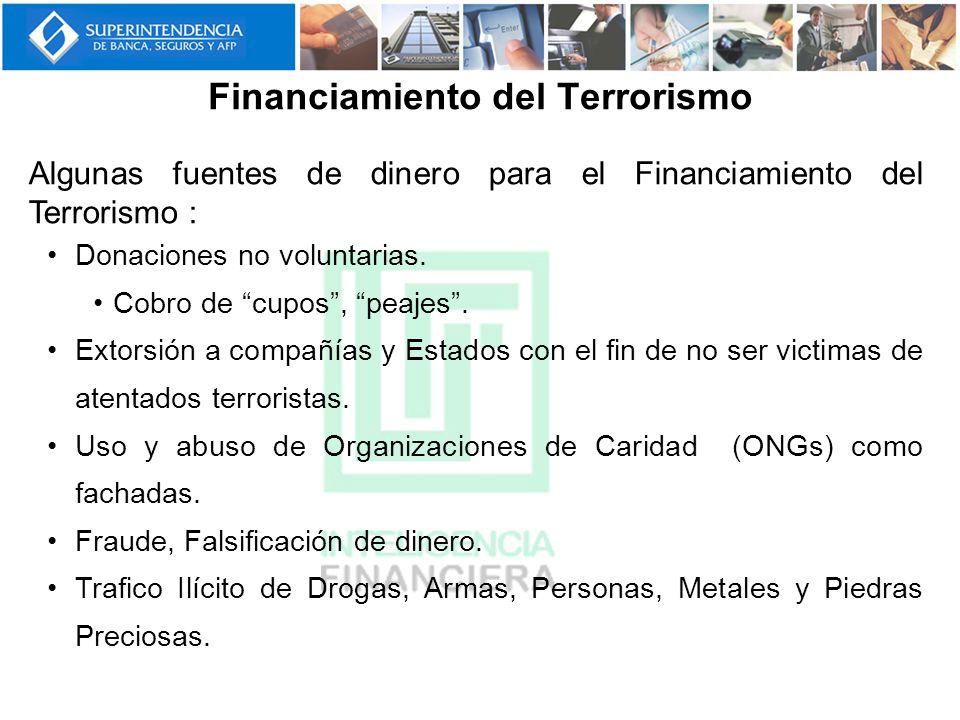 Financiamiento del Terrorismo Algunas fuentes de dinero para el Financiamiento del Terrorismo : Donaciones no voluntarias. Cobro de cupos, peajes. Ext