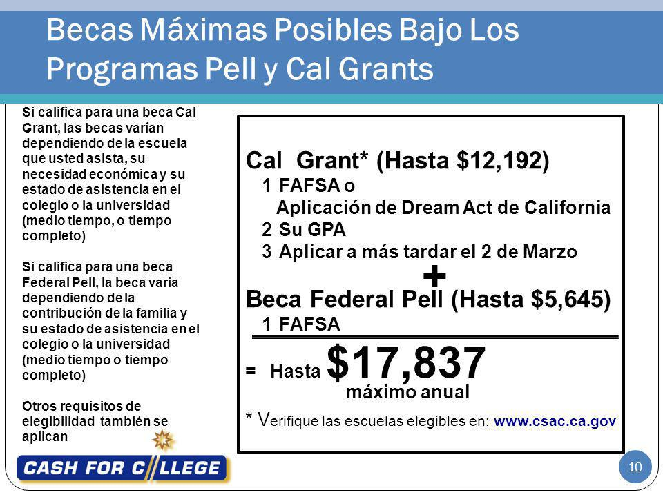 Becas Máximas Posibles Bajo Los Programas Pell y Cal Grants 10 Si califica para una beca Cal Grant, las becas varían dependiendo de la escuela que ust