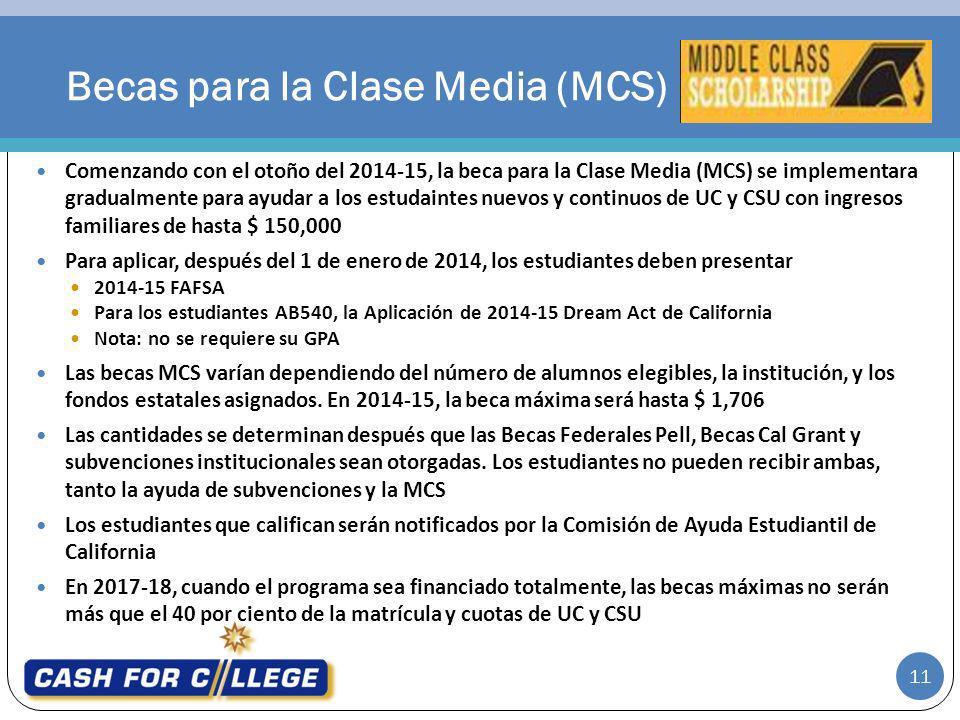 11 Comenzando con el otoño del 2014-15, la beca para la Clase Media (MCS) se implementara gradualmente para ayudar a los estudaintes nuevos y continuo