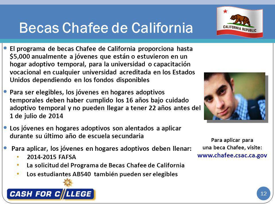 Becas Chafee de California El programa de becas Chafee de California proporciona hasta $5,000 anualmente a jóvenes que están o estuvieron en un hogar