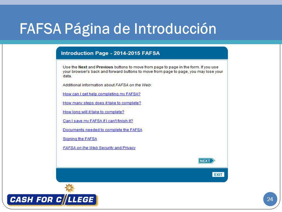 FAFSA Página de Introducción 24