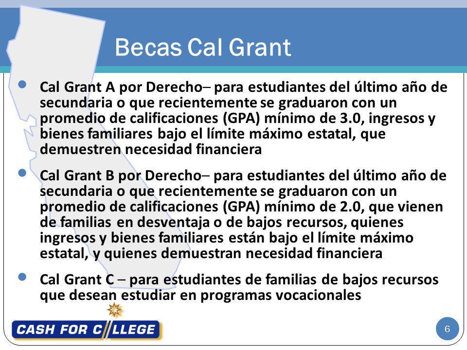Becas Cal Grant Cal Grant A por Derecho– para estudiantes del último año de secundaria o que recientemente se graduaron con un promedio de calificacio