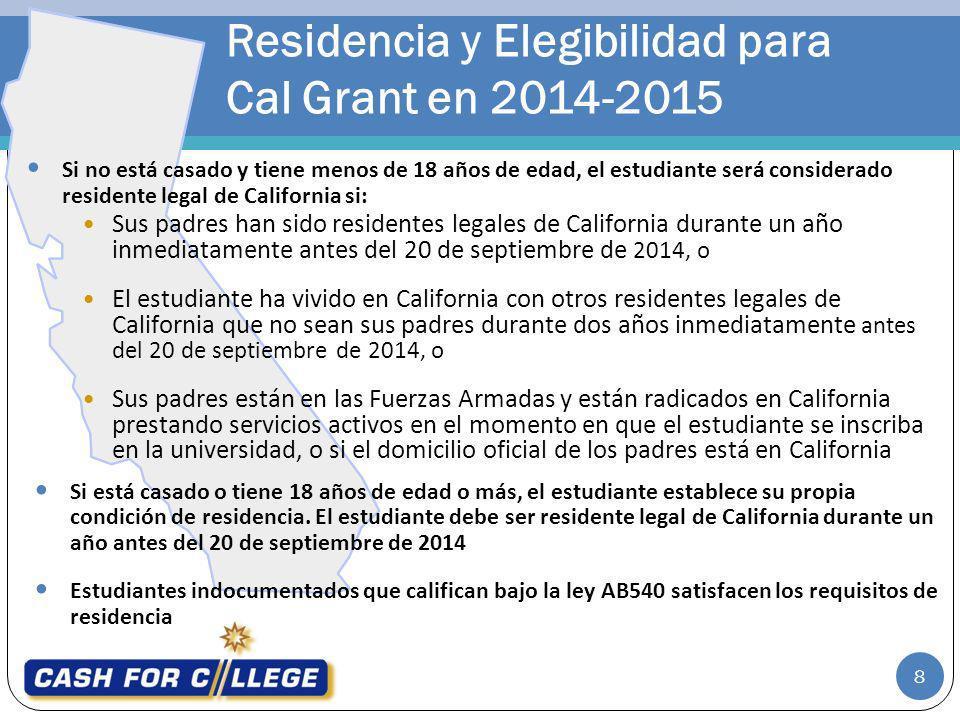 Residencia y Elegibilidad para Cal Grant en 2014-2015 Sus padres han sido residentes legales de California durante un año inmediatamente antes del 20