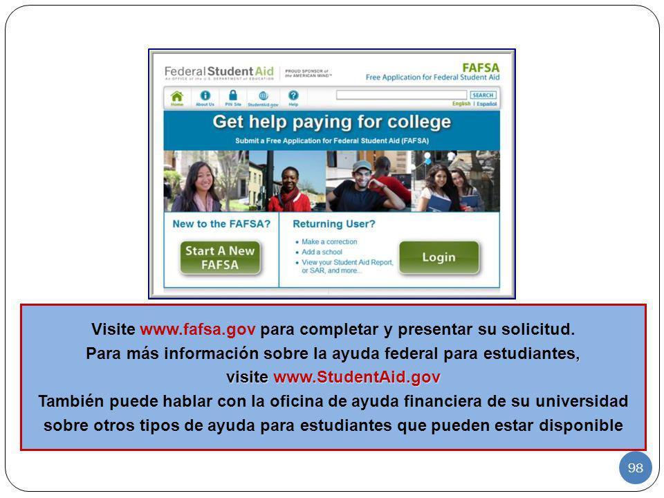 Visite www.fafsa.gov para completar y presentar su solicitud., Para más información sobre la ayuda federal para estudiantes, visite www.StudentAid.gov