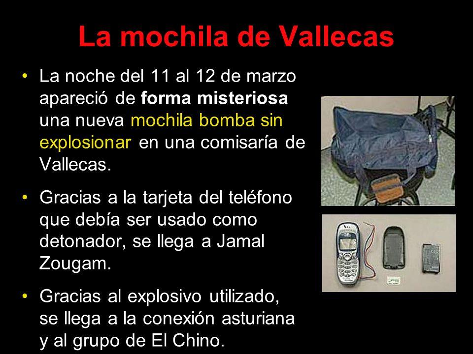 La mochila de Vallecas La noche del 11 al 12 de marzo apareció de forma misteriosa una nueva mochila bomba sin explosionar en una comisaría de Valleca