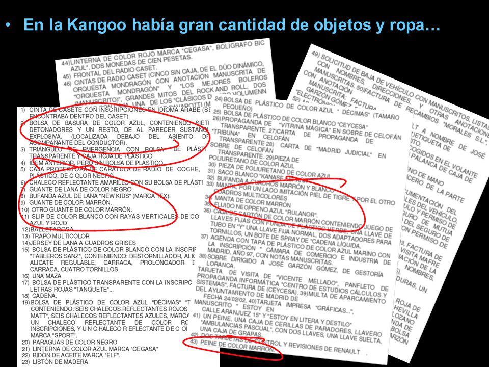 El registro de la Kangoo En la furgoneta Kangoo no se encontraron huellas dactilares de los suicidas de Leganés.