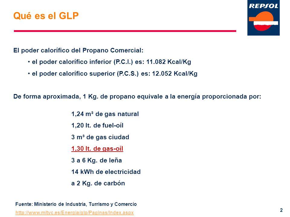 2 El poder calorífico del Propano Comercial: el poder calorífico inferior (P.C.I.) es: 11.082 Kcal/Kg el poder calorífico superior (P.C.S.) es: 12.052