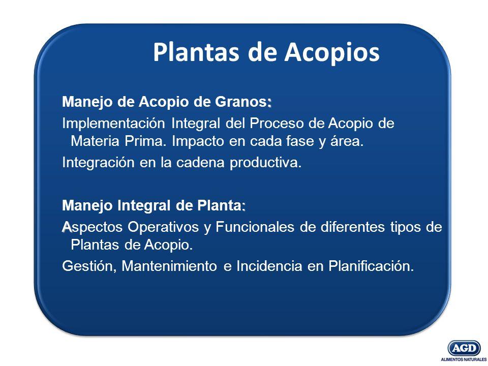 Plantas de Acopios : Manejo de Acopio de Granos: Implementación Integral del Proceso de Acopio de Materia Prima. Impacto en cada fase y área. Integrac