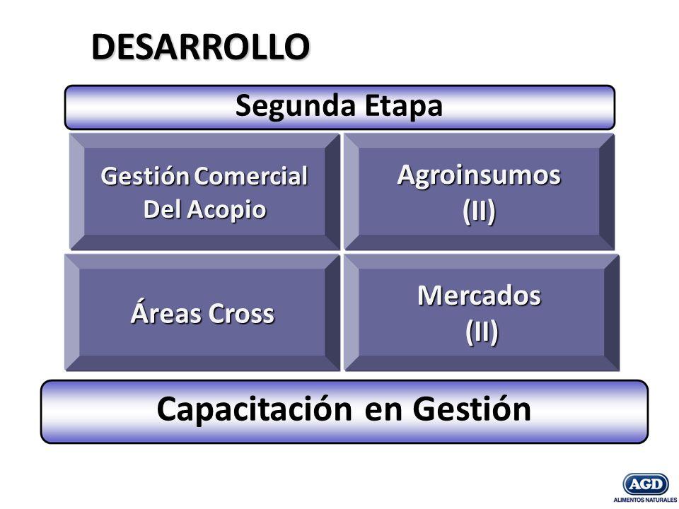 Gestión Comercial Gestión Comercial Del Acopio Del AcopioMercados(II) Áreas Cross Agroinsumos (II) DESARROLLO Capacitación en Gestión Segunda Etapa