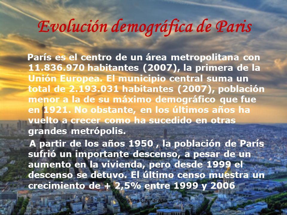 Cristina Camarasa11 Evolución demográfica de Paris París es el centro de un área metropolitana con 11.836.970 habitantes (2007), la primera de la Unión Europea.
