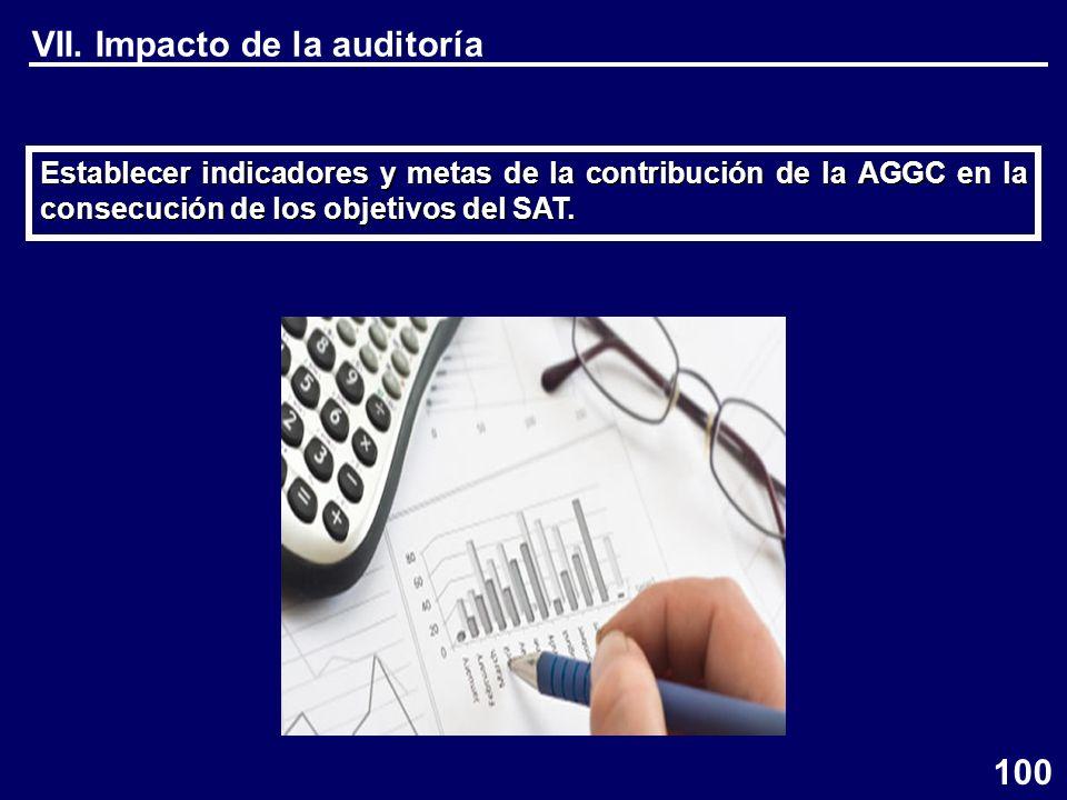 VII. Impacto de la auditoría Establecer indicadores y metas de la contribución de la AGGC en la consecución de los objetivos del SAT. 100