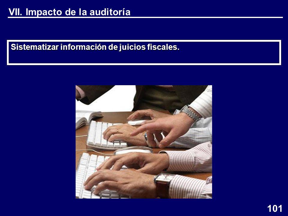 Sistematizar información de juicios fiscales. VII. Impacto de la auditoría 101